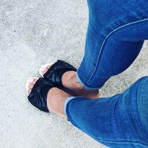 Faux Leather Big Bow Flats
